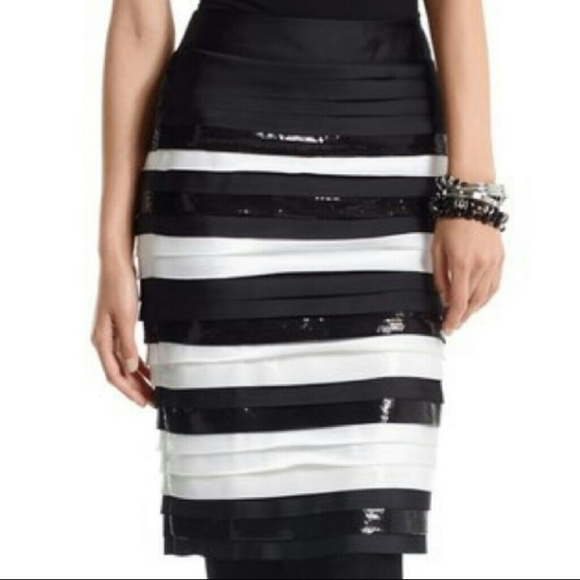 d2bcebe4ff White House Black Market Stripe Sequin Skirt Sz 10.  M_5b9412afc89e1d87086c52d7